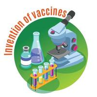 Vaccines Invention Circle Background Vector Illustration