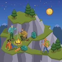 Mountain Tripping Isometric Composition Vector Illustration