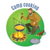 Camp Cooking Circle Background Vector Illustration
