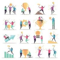 Successful Workers Icons Collection Vector Illustration