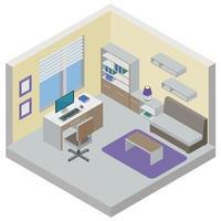 Work Room Isometric Design Concept Vector Illustration