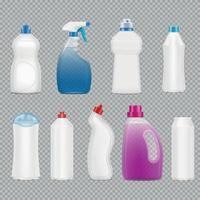 Detergent Bottles Transparent Set Vector Illustration