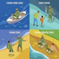Fishermen Isometric Concept Vector Illustration
