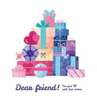 Gifts Presents Boxes Composition Vector Illustration
