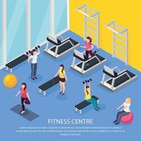 Isometric Women Fitness Background Vector Illustration