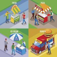 Street Food Isometric Design Concept Vector Illustration