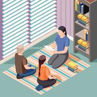 Alternative Learning Literature Isometric Background Vector Illustration
