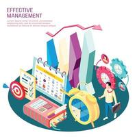 Effective Management Concept Isometric Composition Vector Illustration