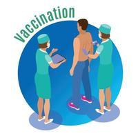 Ilustración de vector de fondo de círculo de inyección de vacuna
