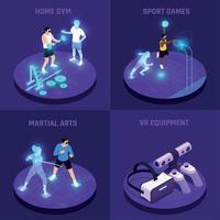 VR Sports Isometric Design Concept Vector Illustration