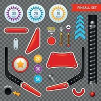 Conjunto de iconos transparentes de elementos de pinball ilustración vectorial vector