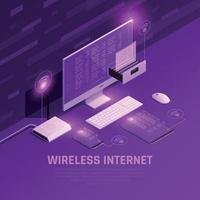 Wireless Internet Isometric Composition Vector Illustration
