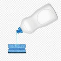 Dishwashing Detergent Sponge Composition Vector Illustration