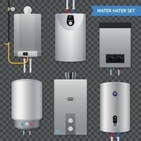 Ilustración de vector de conjunto de iconos transparentes de caldera de calentador de agua eléctrico realista
