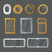 Porthole Realistic Transparent Icon Set Vector Illustration