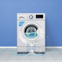 Broken Washing Machine Composition Vector Illustration