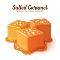 Realistic Salted Caramel Composition Vector Illustration