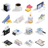 Accounting Isometric Icons Vector Illustration