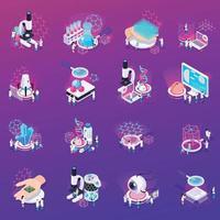 Nanotechnology Isometric Icons Set Vector Illustration
