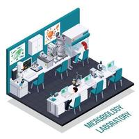 Microbiology Laboratory Isometric Composition Vector Illustration
