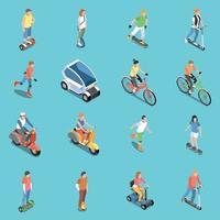 Los iconos de transporte ecológico personal establecen ilustración vectorial vector