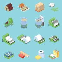 Paper Production Icons Set Vector Illustration