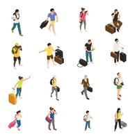 Travel People Isometric Icons Vector Illustration