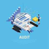 Audit Accounting Isometric Composition Vector Illustration