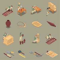 Archeology Isometric Icons Set Vector Illustration