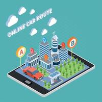 Carsharing Isometric Composition Vector Illustration