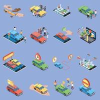 iconos de carsharing conjunto ilustración vectorial vector