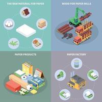 Paper Production Concept Icons Set Vector Illustration