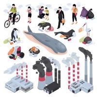 Pollution Isometric Set Vector Illustration