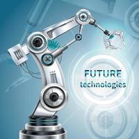 Ilustración de vector de cartel de brazo robótico