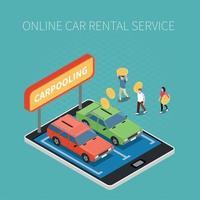 Car Rental Isometric Concept Vector Illustration