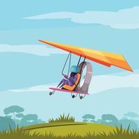 Skydiving Sport Flat Poster Vector Illustration