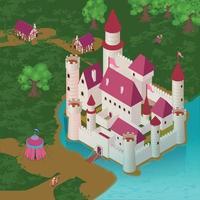 Medieval Castle Isometric Illustration Vector Illustration