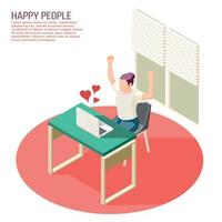 Happy People Isometric Composition Vector Illustration