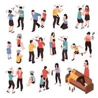 Family Conflicts Set Vector Illustration