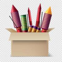 Pyrotechnics Box Realistic Composition Vector Illustration