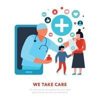 Family Doctor Online Medicine Illustration Vector Illustration