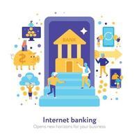 Internet Banking Flat Illustration Vector Illustration