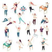 Happy People Isometric Set Vector Illustration
