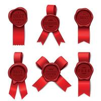 Red Ribbon Stamps Collection Vector Illustration