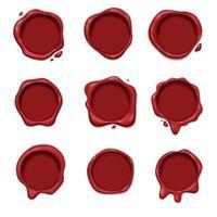 Ilustración de vector de conjunto de sello de cera 3D