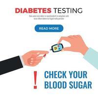 Diabetes Test Flat Design Vector Illustration