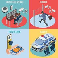 Security Systems Isometric Concept Vector Illustration