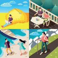 Downshifting Isometric Concept Vector Illustration