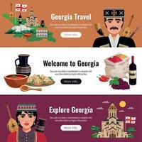 Georgia Tourism Flat Banners Vector Illustration