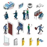 Security Systems Isometric Icons Vector Illustration